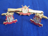 16th / 5th QUEEN'S ROYAL LANCERS CUFF LINK AND TIE GRIP / CLIP SET